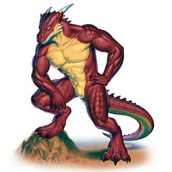 3_toes abs anthro dragon ear_piercing green_eyes hand_on_hip horn lizard looking_at_viewer male muscles nude pecs piercing posing red_skin reptile rollwulf scalie simple_background smile solo standing toes vargore