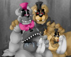animatronic anthro balls bear bow chubby cum drooling erection fur half-closed_eyes licking looking_down machine male male/male mammal nightmare_(fnaf) nightmare_freddy_(fnaf) orgasm penis robot saliva sharp_teeth sitting size_difference smile teeth tongue tongue_out unknown_artist