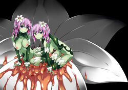 2girls artist_request black_background blush breasts flower green_skin hanging_breasts liliraune_(monster_girl_encyclopedia) long_hair looking_at_viewer monster_girl monster_girl_encyclopedia multiple_girls navel nipples nude pink_hair plant_girl pointy_ears purple_eyes simple_background smile thighhighs twins