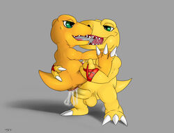 agumon anal anal_sex balls crossover cum cum_from_ass cum_splatter digimon digital_media_(artwork) dinosaur duo erection eye_contact kissing lifted male male/male nude open_mouth penetration penis saliva saliva_string scalie selfcest sex seyrmo sharp_teeth signature square_crossover stand_and_carry_position standing teeth tongue