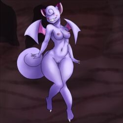 anthro anthrofied blush breasts cave claws clefairy fangs female flying hybrid lurkingtyger nintendo nude pokemon pussy smile solo video_games wide_hips wings zubat