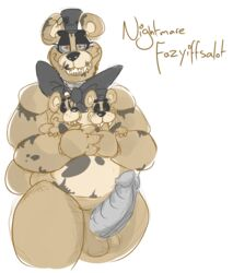 animatronic anthro balls bear bow chubby cum cum_on_penis english_text erection five_nights_at_freddy's half-closed_eyes hat headgear looking_at_viewer machine male mammal mini_freddy_(fnaf) nightmare_freddy_(fnaf) nude open_mouth orgasm penis precum robot sharp_teeth size_difference standing teeth text thick_thighs unknown_artist video_games