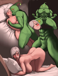 abs all_fours anal anal_sex anthro areola ass balls bed biceps blush breasts comic erection female goo hair human human_on_anthro interspecies league_of_legends looking_at_viewer looking_back looking_up lying male male/female mammal manly muscles nielsdejong nipple_play nipples nude on_back on_top open_mouth pecs penetration penis pillow riven sex smile spread_legs spreading standing vein veiny_penis video_games zac