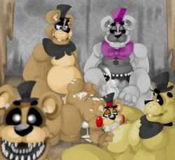 all_fours anal anal_sex animatronic anthro ass bear bow chubby cum cum_everywhere cum_in_mouth cum_inside cum_on_back cum_on_face cum_on_ground cum_on_penis cum_on_stomach cum_on_tail cum_string cumshot double_penetration fellatio five_nights_at_freddy's five_nights_at_freddy's_2 foursome freddy_(fnaf) golden_freddy_(fnaf) group group_sex half-closed_eyes hand_on_butt hat headgear looking_at_viewer looking_down machine male male/male mammal messy mini_freddy_(fnaf) nightmare_fredbear_(fnaf) on_floor open_mouth oral orgasm penetration penis robot sex sharp_teeth sitting size_difference smile spread_legs spreading sucking teeth toy_freddy_(fnaf) unknown_artist video_games