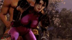 3d animated armor black_hair bodysuit bouncing_breasts clothed_female_nude_male clothed_sex doggy_style happy long_hair ninja pockyin_sfm ponytail skin_tight soul_calibur soulcalibur_iv spandex taki thick_thighs thighs