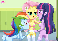 ass blush breasts equestria_girls equestria_untamed female fluttershy friendship_is_magic human my_little_pony nipples pussy rainbow_dash tagme twilight_sparkle yuri