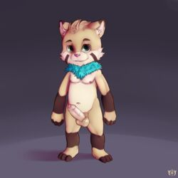 absurd_res alternate_version_available balls barefoot chest_tuft chubby digital_media_(artwork) erection front_view fur furfit hi_res humanoid_penis league_of_legends looking_at_viewer male moobs nipples nude partially_retracted_foreskin penis signature solo standing tuft uncut video_games yordle