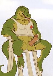 alligator anthro balls barefoot biceps claws clothed clothing cum cum_on_hand cum_on_penis erection forge furry_only half-dressed hi_res league_of_legends lifeguard looking_down male manly masturbation muscles nude open_mouth orgasm pecs penis renekton reptile scalie sharp_claws sharp_teeth shirt sitting smile solo spread_legs spreading teeth thewielder toe_claws tongue tongue_out video_games