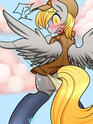 ! ? azure-doodle big_eyes blonde_hair blush clothed clothing cloud cutie_mark derpy_hooves equine female friendship_is_magic fur grey_fur hair hat horse looking_back mammal my_little_pony open_mouth outside panties pony pussy pussy_juice solo teeth tongue underwear wardrobe_malfunction wings