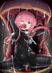 blue_eyes bodysuit breast_sucking breasts cameltoe chest dark_background female highres homura_subaru lactation latex latex_suit milking mimic mimic_chest monster nipples one_eye_closed open_mouth original pink_hair restrained skin_tight slime solo spread_legs tentacle tentacle_rape vore