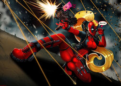 blonde_hair bodysuit bulge cameltail deadpool deadpool_corps futanari glasses high_heels intersex lady_deadpool marvel ponytail rule_63 selfie shadman shooting solo squatting submachinegun therealshadman weapon