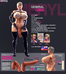 3d abs balls_in_panties boots breasts character_sheet cleavage dickgirl dmitrys elbow_gloves endlessillusion erect_nipples erection flaccid futa_solo futanari gloves grey_hair high_heels huge_breasts large_balls large_breasts large_penis large_testicles latex lipstick meryl_(dmitrys) navel nipples penis short_hair standing testicles thigh_boots underboob