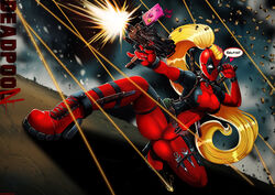 blonde_hair bodysuit deadpool deadpool_corps female glasses high_heels lady_deadpool marvel ponytail rule_63 selfie shadman shooting solo squatting submachinegun therealshadman weapon