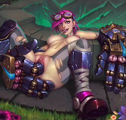 blue_eyes boots breasts female fingering league_of_legends mechanical mister-mediocre nipple_piercing nipples piercing pink_hair pussy solo tattoo uncensored vi