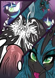2015 absurd_res animal_genitalia anus ass blue_hair blush bound changeling comic cum cum_on_butt duo equine female friendship_is_magic glowing glowing_eyes hair half-closed_eyes heart hi_res horn horsecock long_hair looking_at_viewer male male/female mammal mirapony my_little_pony open_mouth penis queen_chrysalis_(mlp) restrained shining_armor_(mlp) sweat tongue tongue_out unicorn vein