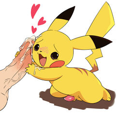 2015 blush cum disembodied_penis duo feral happy heart holding_penis human human_on_feral humanoid_penis interspecies male male/male mammal manmosu_marimo nintendo penis pikachu poképhilia pokemon simple_background smile solo_focus tapering_penis video_games white_background zoophilia