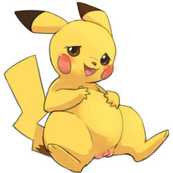 2015 belly blush brown_eyes brown_fur chubby clitoris eyelashes female feral flat_chested fur hindpaw looking_at_viewer manmosu_marimo nintendo open_mouth paws pikachu pokemon pussy simple_background sitting solo spread_legs spreading tongue video_games white_background yellow_fur
