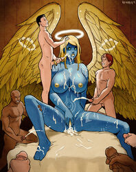 after_sex angel angry balls barefoot big_breasts black_hair blonde_hair blue_skin breasts bukkake cum cum_everywhere cum_in_pussy cum_inside cum_leaking cum_on_breasts cum_on_face cum_on_leg cum_on_stomach erection feathered_wings feathers feet female freckles gangbang green_eyes group group_sex hair halo human larger_female male mammal masturbation messy nipples nude orgasm penis pussy red_hair reinbach sex size_difference smaller_male spread_legs spread_pussy spreading wings