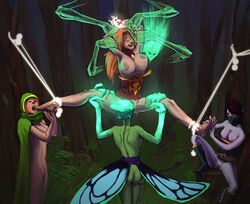 4girls ass black_hair bondage bottomless bouncing_breasts breasts cunnilingus death_prophet dota_2 female foot_licking green_hair green_skin laughing lina nipples oral pink_skin pussy red_hair restrained spread_legs templar_assassin tickle topless wardrobe_malfunction windrunner yuri