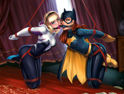 2girls ball_gag barbara_gordon batgirl batman_(series) blonde_hair blue_eyes bodysuit bondage bound brown_hair crossover dc dc_comics edge_of_spider-verse female gloves green_eyes gwen_stacy long_hair marvel mask mouth_gag restrained ropes saneperson short_hair skin_tight spider-man_(series) spider_gwen tied