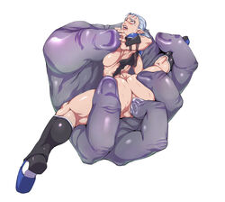 anus armor ass big_butt blush bongo_bongo boots bound bracers breast_squish breasts brown_eyes censored clothing disembodied_hand duo eye_roll fingering footwear ganguro_(artist) hair hi_res humanoid impa insertion large_insertion larger_male male nintendo ocarina_of_time penetration pubes pussy pussy_juice saliva size_difference smaller_female spread_legs spreading sweat the_legend_of_zelda thick_thighs torn_clothing vaginal_penetration vaginal_penetration video_games white_hair