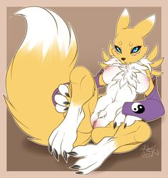 2015 breasts digimon female firefly8083 nipples nude pussy renamon solo