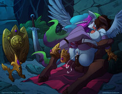 2015 alicorn animal_genitalia anthro balls big_breasts blanket breasts clothing duo elbow_gloves equine erect_nipples fan_character female friendship_is_magic from_behind gloves hair helmet hooves horn horse horsecock legwear male male/female mammal melee_weapon multicolored_hair my_little_pony nipples open_mouth penetration penis pony princess_celestia_(mlp) shield stockings sword thigh_highs tongue tongue_out vaginal_penetration vaginal_penetration weapon wings zwitterkitsune
