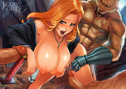 bleach blue_eyes breasts ejaculation erection female from_behind gangbang gotei_13 group_sex jiggly_girls komamura_sajin large_breasts long_hair matsumoto_rangiku multiple_boys nipples open_mouth orange_hair penis reiq sex sweat sword uncensored