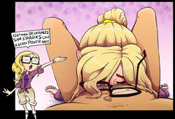 balls_deep blonde_hair blowjob blush closed_eyes cloudy_with_a_chance_of_meatballs deepthroat fellatio glasses irrumatio oral passed_out pony_tail ponytail pov runny_makeup samantha_sparks slobber sparrow unconscious