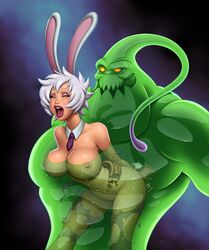 belly breasts bunny closed_eyes ears goo large_breasts league_of_legends lol monster navel nielsdejong nipples open_mouth riven short_hair teeth thighs tie tongue torn_clothes white_hair zac