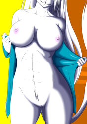 abs angel anthro big_breasts breasts clitoris erect_nipples feline feline female fur gtoyaannno hair mammal mericella nipples pose presenting presenting_pussy pussy smile solo undressing white_fur white_hair