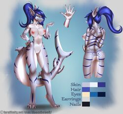 2015 anthro areola ass big_breasts blue_background blue_eyes blue_hair blue_scales blue_stripes breasts doomthewolf ear_piercing english_text female fin fish front_view grey_scales hair long_tail looking_at_viewer marine markings model_sheet multicolored_scales nipples nude piercing pointy_ears pussy rear_view sally_(doomthewolf) shark simple_background solo standing stripes text webbed_hands white_scales white_sclera