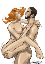 1boy beard breasts brown_hair caucasian dota_2 dragon_knight eye_contact face_paint female female lina male marrymind moaning muscular nipples nude red_hair standing toes_pointed