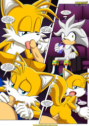 2015 anal anal_sex anthro ass balls bbmbbf blue_eyes canine comic dialogue duo english_text erection fellatio fox hedgehog male male/male mammal mobius_unleashed movie_theater open_mouth oral palcomix penetration penis public sex silver_the_hedgehog sonic_(series) sonic_the_hedgehog tails text tongue tongue_out video_games
