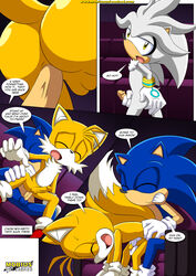 2015 anal anal_fingering anal_sex anthro ass balls bbmbbf canine closed_eyes comic dialogue duo english_text erection fingering fox handjob hedgehog male male/male mammal masturbation mobius_unleashed movie_theater open_mouth palcomix penetration penis public sex silver_the_hedgehog sonic_(series) sonic_the_hedgehog tails text video_games