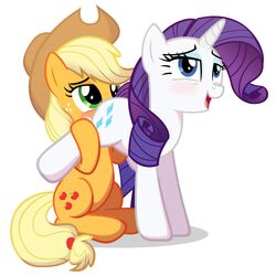 2015 applejack_(mlp) blonde_hair blue_eyes blush cowboy_hat cutie_mark duo earth_pony equine eyeshadow female female/female feral freckles friendship_is_magic green_eyes hair hat horn horse long_hair makeup mammal my_little_pony open_mouth oral pony purple_hair rarity_(mlp) sex simple_background spectre_z unicorn white_background