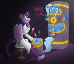 2015 alicorn anthro anthrofied ball_gag blindfold blush brush caroo clothing cutie_mark duo equine female friendship_is_magic gag gold_(metal) hair horn magic_inhibitor mammal my_little_pony nude portal purple_eyes purple_hair pussy pussy_juice ring runes sitting tears tickle_fetish tickle_torture tickling trixie_(mlp) twilight_sparkle_(mlp) unicorn wings
