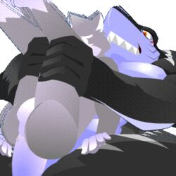 2015 alpha_channel anal anal_sex animated anthro balls blush canine duo fish fur grey_fur interspecies legs_up male male/male mammal marine nude passchan penetration penis rear_view red_eyes sex shark sharp_teeth teeth titas