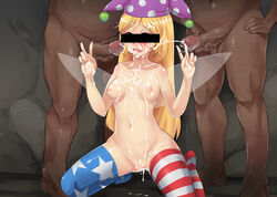 2boys alternate_legwear american_flag_legwear blonde_hair blush breasts bukkake censored clownpiece cum cum_in_mouth cum_in_pussy cum_on_body cum_on_breasts cum_on_hair cum_on_lower_body cum_on_upper_body double_v ejaculation facial fairy_wings female greyface hat identity_censor jester_cap long_hair multiple_boys nipples penis pointless_censoring pussy pussy_juice smile solo_focus sweat thighhighs touhou v wings
