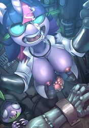 2015 animal_genitalia anthro anthrofied atryl big_breasts breasts clothing cum dickgirl dragon duo equine eyewear friendship_is_magic gloves goggles hair horn horsecock intersex male mammal my_little_pony nipples open_mouth penis purple_hair spike_(mlp) twilight_sparkle_(mlp) unicorn