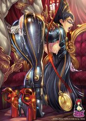 bayonetta bayonetta_(character) bent_over big_breasts black_hair breasts candles cum doggy_style female glasses gold gun hanging_breasts high_heels huge_breasts jiggly_girls legs long_hair long_legs medallion open_mouth reiq sega semen sex torn_clothes