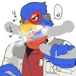 avian bird blush cum disembodied_penis falco_lombardi fellatio heart knot male male/male nintendo oral penis sex star_fox sweat text translation_request video_games てば_もとこ_(artist)