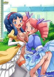 2girls alternate_hairstyle art ass babe bare_legs bent_over big_breasts blue_dress blue_eyes blue_hair blush bottomless breast_grab breast_lick breast_sucking breasts_out breasts_outside building choker cleavage dawn dawn_(pokemon) day dress dress_lift dress_up drill_hair elbow_gloves female field gloves grass hair_ribbon high_res highres human large_breasts legs licking long_hair looking_at_viewer moaning multiple_females naughty_face navel neck nintendo nipples no_panties open_dress open_mouth outside pink_eyes pink_hair pokemon pokemon_(anime) pokemon_dppt pokepornlive ponytail pussy ribbon shiny shiny_hair shiny_skin stockings tagme thighhighs tongue tongue_out twin_drills urara_(pokemon) ursula_(pokemon) white_gloves yellow_dress yuri