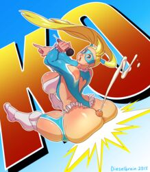 ass back blonde_hair blue_eyes boots breasts buttjob cum dieselbrain domino_mask ejaculation female heart heart_cutout huge_ass huge_breasts long_hair mask microphone penis projectile_cum rainbow_mika solo street_fighter thick_thighs thighs twintails uncensored white_legwear wrestling_outfit