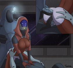 alien anal anal_sex ass breasts clothing cowgirl_position double_penetration erection female geth group group_sex hand_on_butt machine male male/female mask mass_effect not_furry on_top penetration penis quarian robot sex spurius threesome tight_clothing vaginal_penetration vaginal_penetration video_games