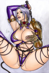 areolae armor armpits bangs breasts cameltoe choker claws cleavage earrings female fingerless_gloves flower garter_straps gloves grabbing_own_breast gradient_background green_eyes hand_on_own_chest highres hips isabella_valentine jewelry large_breasts lips looking_at_viewer loubotix namco nipples pauldrons plump red_rose revealing_clothes rose short_hair single_gauntlet solo soul_calibur soulcalibur_iv spread_legs thigh_strap tied_up underboob whip