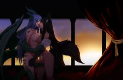 2girls animal_ears anubis_(monster_girl_encyclopedia) black_hair blush breast_press breasts claws collarbone crotch_rub curtain curtains dark_skin dragon_(mamono_girl_lover) dragon_(monster_girl_encyclopedia) dragon_wings female highres horns incipient_kiss less long_hair mamono_girl_lover monster_girl monster_girl_encyclopedia multiple_girls nude paws purple_hair pussy pussy_juice red_eyes saliva scales sunset symmetrical_docking tail tongue tongue_out very_long_hair wings yellow_eyes yuri