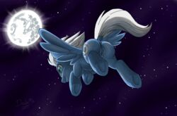2015 anus ass cutie_mark dawaffle equine female feral flying hair hooves mammal moon my_little_pony night_glider_(mlp) outside pegasus pussy solo wings