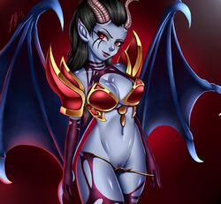 2015 akasha_the_queen_of_pain anthro armor black_hair blue_skin breasts cleavage clothed clothing demon doomthewolf dota_2 english_text female hair half-closed_eyes horn humanoid markings navel pubes pussy red_background red_eyes simple_background smile solo succubus text unconvincing_armor undressing video_games wings