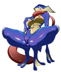 abs anthro anthrofied anus big_breasts blush breasts censored crouching erect_nipples female greninja heart nintendo nipples nude pokemon pussy red_eyes simple_background solo spread_legs spreading video_games webbed_feet webbed_hands white_background wide_hips かんた。_(artist)